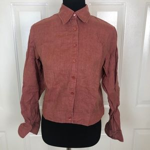 Faconnable Women's Brick Red Long Sleeve Crop